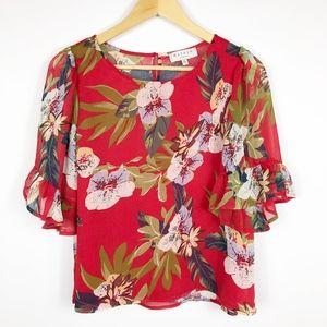Hayden Sheer Red Floral Top Ruffled Sleeves Sz M